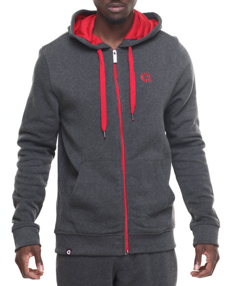 Akademiks - Men Charcoal Essential Full Zip Hoody