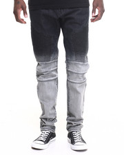 Men - Square Zero Dip - Dye Moto - Style Denim Jeans
