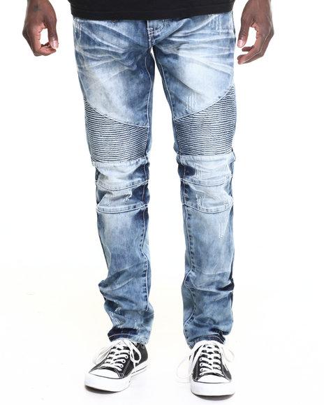 Buyers Picks - Men Light Wash Square Zero Moto - Style Denim Jeans