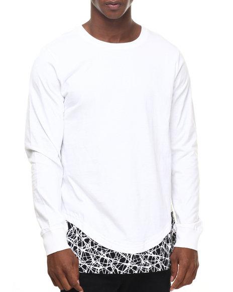 Akademiks Men Pathfinder E-Longated Print L/S Shirt White Large