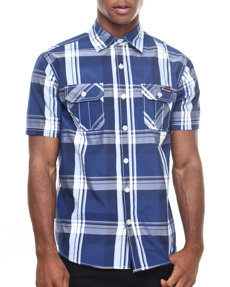 Enyce - Men Blue Dj Polo S/S Button-Down - $17.99