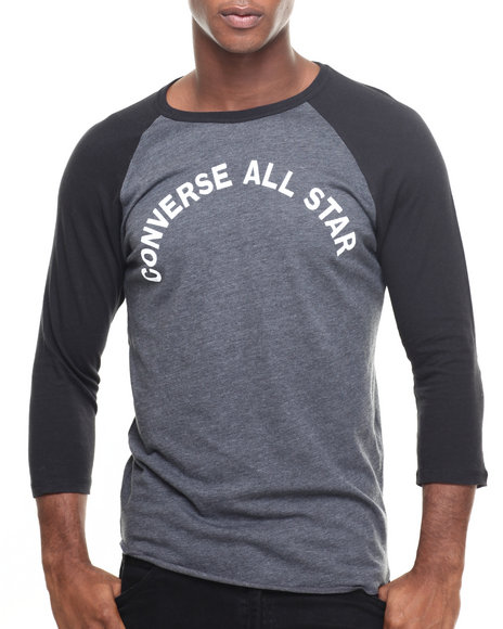 Converse - Men Black All Star Raglan 3/4 Sleeve Raglan Tee