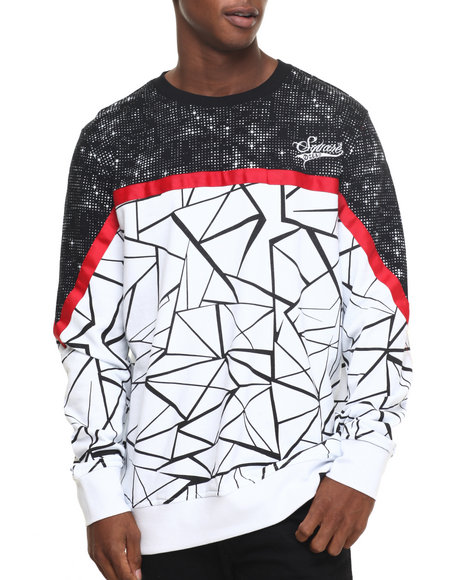 Buyers Picks - Men White,White Crackle - Print Crewneck Sweatshirt - $82.00