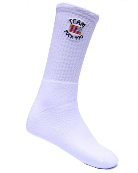 40S & Shorties Men Team F U Socks White
