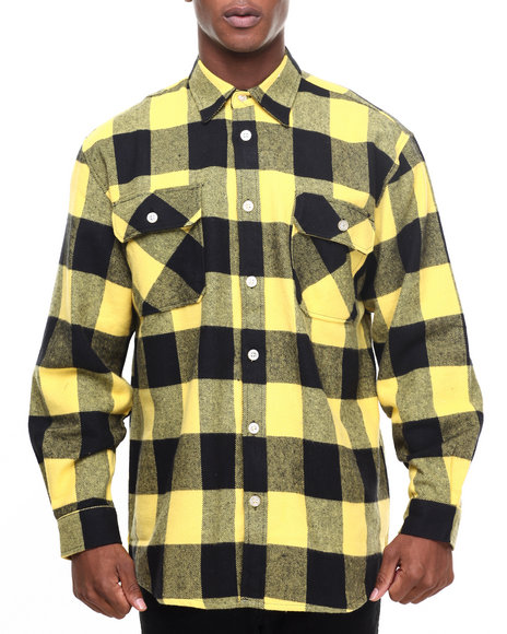 Rothco Men Rothco Extra Heavyweight Buffalo Plaid Flannel Shirts (B&T) Yellow XX-Large