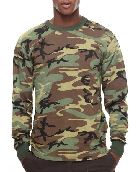 Rothco Men Rothco Long Sleeve Camo T-Shirt Woodland Camo Small