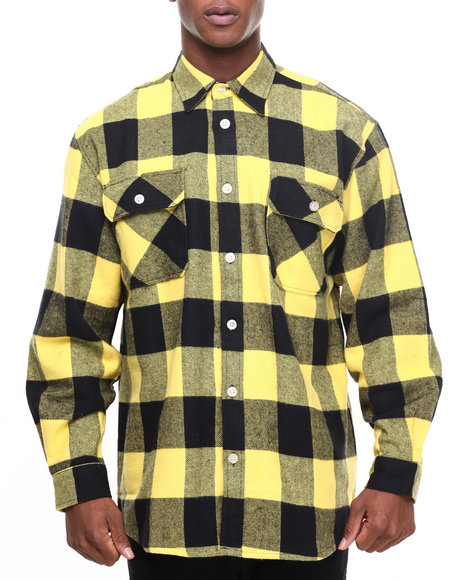 Rothco Men Rothco Extra Heavyweight Buffalo Plaid Flannel Shirts Yellow X-Large