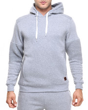 Men - Pleated Pullover Pipe Quilted Pullover Hoodie