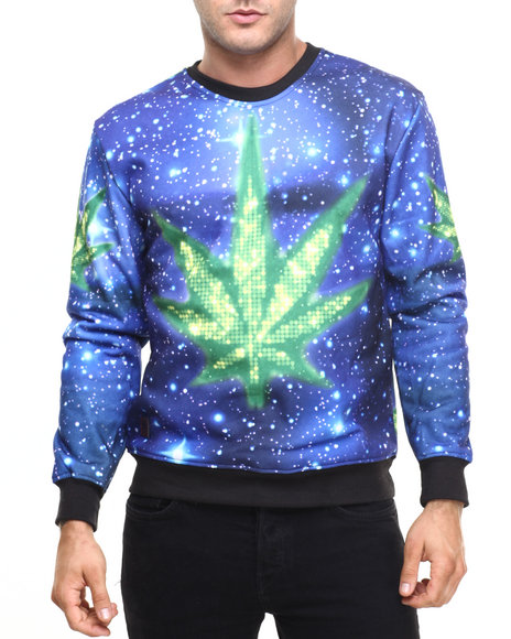 Buyers Picks - Men Blue Ganja Galaxy Print Crewneck