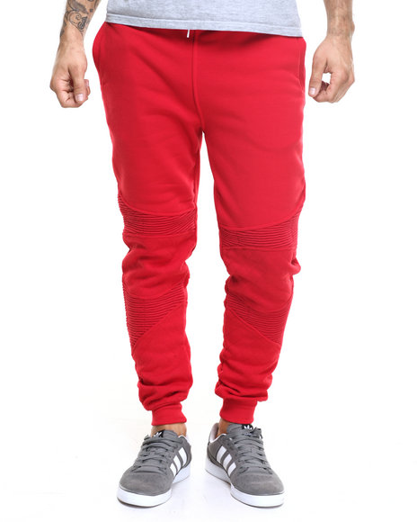 Buyers Picks - Men Red Pleated Jogger W Stripes