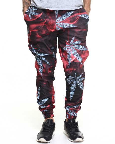 Buyers Picks - Men Red Diamond Leaf All Over Print Jogger