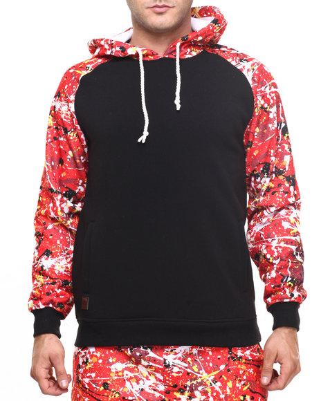 Buyers Picks - Men Black Raglan Hoodie W Paint Splatter Print - $38.99