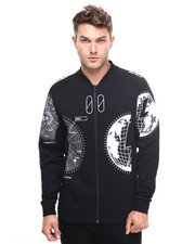 -FEATURES- - GLOBE-PRINT BOMBER JACKET