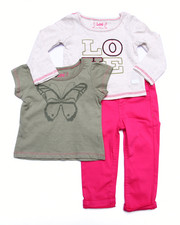 Deals-Girls - 3 PC SET - L/S LOVE TOP, TEE, & TWILL PANTS (INFANT)