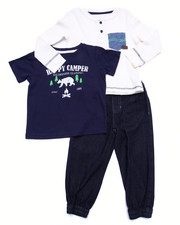 Boys - 3 PC SET - THERMAL, TEE, & DENIM JOGGERS (2T-4T)