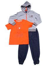 Boys - 3 PC SET - HOODY, TEE, & DENIM JOGGERS (4-7)