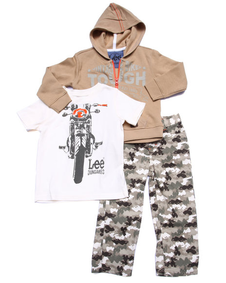 Lee - Boys Multi 3 Pc Set - Hoody, Tee, & Camo Pants (2T-4T)