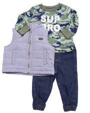 Sets - 3 PC SET - PUFF VEST, THERMAL, & JEANS (INFANT)
