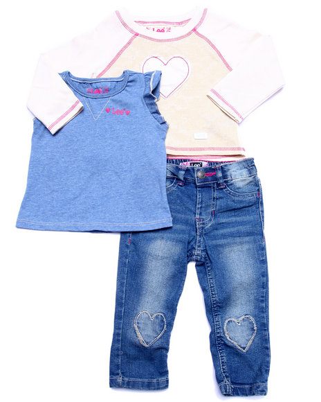 Lee - Girls Multi 3 Pc Set - L/S Heart Raglan, Tee, & Jeans (Infant)