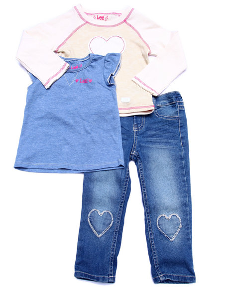 Lee - Girls Multi 3 Pc Set - L/S Heart Raglan, Tee, & Jeans (2T-4T)