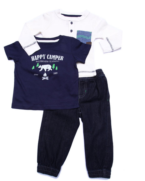 Lee - Boys Multi 3 Pc Set - Thermal, Tee, & Denim Joggers (Infant)