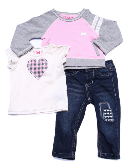 Lee - Girls Multi 3 Pc Set - L/S French Terry Top, Tee, & Jeans (Infant)