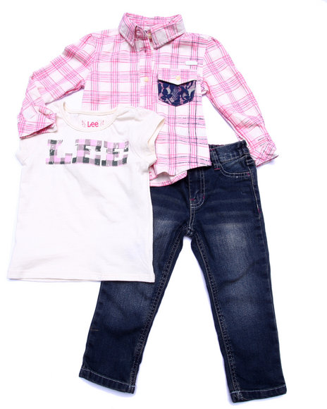 Lee - Girls Multi 3 Pc Set - Plaid Woven, Tee, & Jeans (2T-4T)