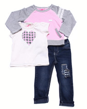 Girls - 3 PC SET - L/S FRENCH TERRY TOP, TEE, & JEANS (2T-4T)