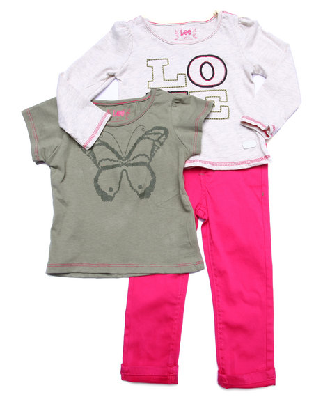 Lee - Girls Multi 3 Pc Set - L/S Love Top, Tee, & Twill Pants (2T-4T)
