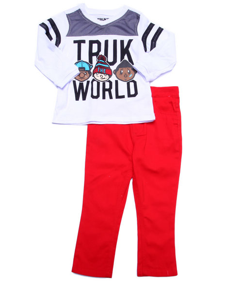 Trukfit - Boys Red 2 Pc Truk World Tee & Jeans Set (2T-4T)
