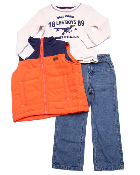 Lee - Boys Multi 3 Pc Set - Puff Vest, Thermal, & Jeans (2T-4T)