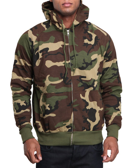 Rothco Men Rothco Thermal Lined Hooded Sweatshirt Woodland Camo Small
