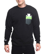 Pullover Sweatshirts - Fire Tie-Dye Pocket Bear Crewneck Sweatshirt