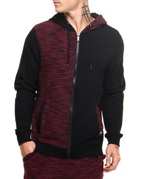 Akademiks Men Hawk Specialty Knit Full Zip Hoodie Maroon X-Large