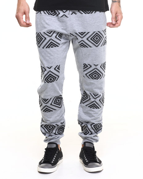 Buyers Picks - Men Grey Aztec Fleece Jogger