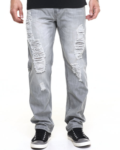 Buyers Picks - Men Grey Grey Distressed Reg Fit  Jean