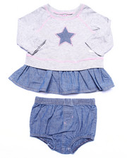 Deals-Girls - 2 PC SET - JERSEY & CHAMBRAY DRESS W/ BLOOMERS (INFANT)