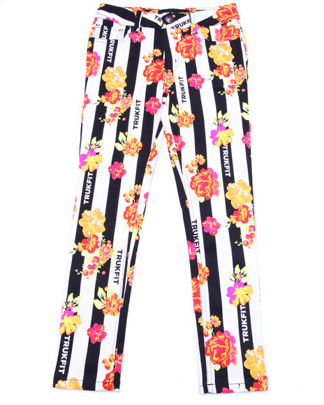 Trukfit - Girls Multi Striped & Floral Jeans (7-16)