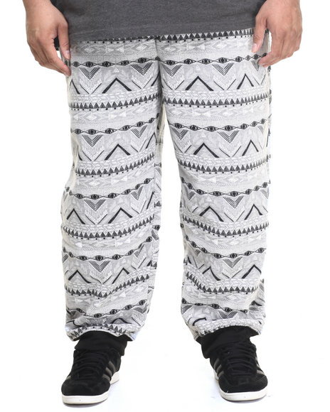 Akademiks - Men Light Grey Aztec Jogger Sweatpants (B&T)