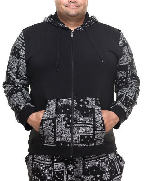 Akademiks - Men Black Champion Full Zip Fleece Hoody (B&T)