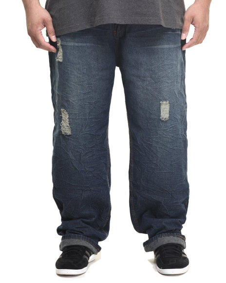 Enyce - Men Dark Wash Tacked Denim Jeans (B&T)