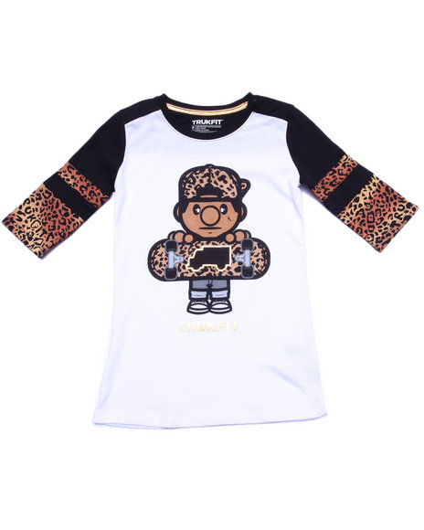 Trukfit - Girls White Lil' Tommy Leopard Tee (7-16)