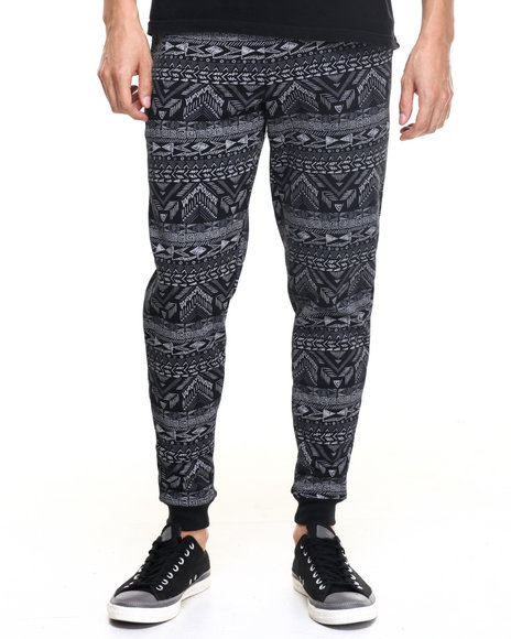 Akademiks Men Aztec Jogger Sweatpants Black XX-Large