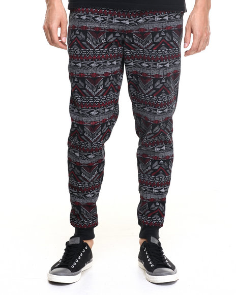 Akademiks - Men Red Aztec Jogger Sweatpants