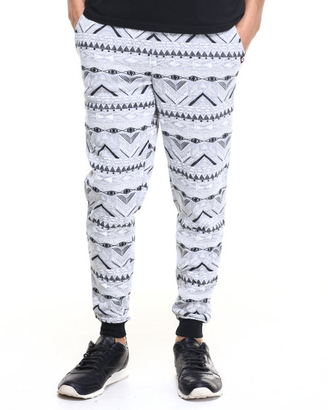 Akademiks - Men Grey Aztec Jogger Sweatpants