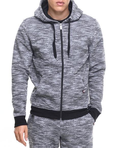 Akademiks Men All Over Fly Knit Full Zip Hoody Grey Medium