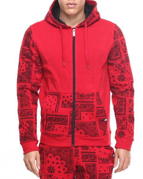 Akademiks Men Champion Full Zip Fleece Hoodie Red Large