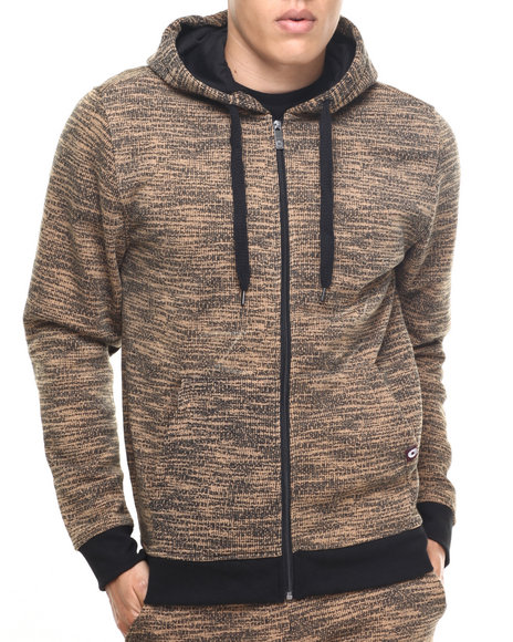 Akademiks - Men Wheat All Over Fly Knit Full Zip Hoodie