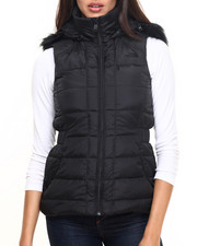 Vests - Women's Gotham Vest W/Removable Faux Fur Hood