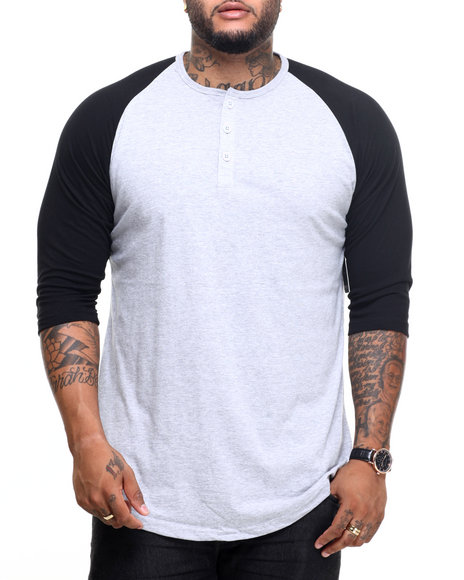 Basic Essentials - Men Grey 3/4 Raglan Sleeve Henley Tee
